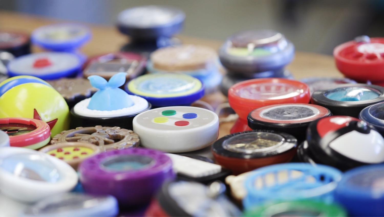 close-up of colorful yo-yos