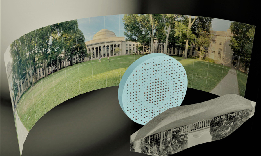 wide-field-of-view metalens capturing a 180° panorama of MIT's Killian Court