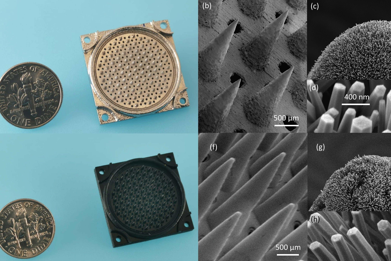 Nanosatellite thruster emits pure ions