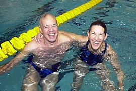 Al and Barrie Zesiger are all smiles after their first swim in the pool that bears their name.