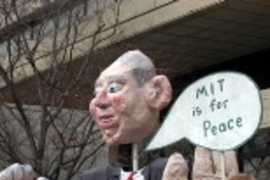 A giant puppet of President George W. Bush took center stage at Thursday's rally against war in Iraq.
