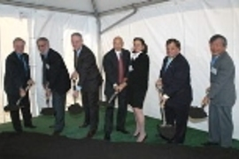 Taking part in the groundbreaking, left to right: MIT Provost Robert A.Brown; Dean of the School of Science Robert J. Silbey; MIT President Charles M. Vest; Jeffry Picower; Barbara Picower; Cambridge Mayor Michael Sullivan, and Susumu Tonegawa, the Picower Professor of Biology and Neuroscience, Nobel laureate, and founding director of the Picower Center for Learning and Memory at MIT.
