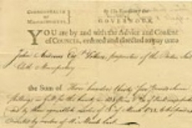 One of the 22 bounty warrants returned from the MIT Museum to the Commonwealth of Massachusetts. This one is dated 1791 and is a receipt for sail cloth.