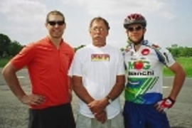 Greg Mahowald, Steve Bond of Hector, N.Y., and Kyle Rattray, after Bond put up the MIT cyclists at his home.