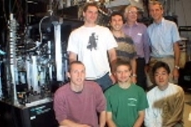 The researchers in front of the experimental setup where they realized record-low temperatures. Top row: Andre Schirotzek, Michele Saba, David Pritchard and Wolfgang Ketterle. Lower row: Aaron Leanhardt, Tom Pasquini and Yong-Il Shin. Dave Kielpinski is missing.