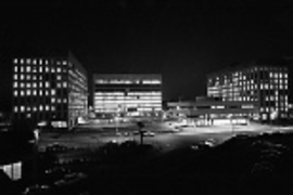 Technology Square glows at night soon after it was constructed more than 40 years ago.