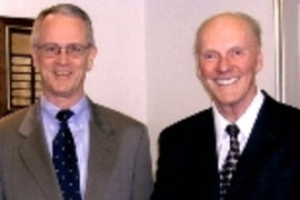 MIT President Charles M. Vest and Kavli Foundation Chairman Fred Kavli.