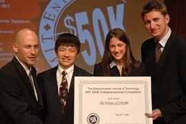 The Balico team is shown accepting $30,000 in start-up money at the final awards ceremony of the MIT $50K Entrepreneurship Competition held May 9. From left to right: MIT graduate student Baruch Schori, MIT Ph.D. candidates Harry Lee and Kathleen Sienko, and Jimmy Robertsson, a research engineer at Massachusetts Eye and Ear Infirmary.