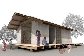 Rendering of a Sri Lankan house designed by an MIT/Harvard team. The structure, which would be built with local materials, is engineered to withstand a tsunami.