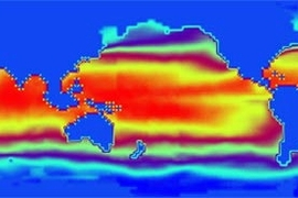 Using the new Earth System Modeling Framework, researchers coupled an atmosphere model and an ocean model that had not interacted before. This image depicts the sea surface temperature after five iterations of the simulation. The collaborators on this field test are MIT and the Geophysical Fluid Dynamics Laboratory.