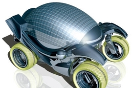 This sketch of a concept solar car was created for the MIT  Vehicle Design Summit, a gathering of students who will work on alternative transportation ideas this summer.