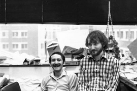Andrew Fire, right, who earned his Ph.D. from MIT in 1983, won the Nobel Prize in physiology/medicine on Oct. 2, 2006. In this undated photo taken at MIT when he was a student, he is shown with Mark Samuels, another grad student.