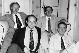Alexander Rich, front row, left, was a member of the RNA Tie Club, which had 20 members, one representing each amino acid. Rich is joined in this 1955 photo by biophysicist James Watson (front row, right), chemist Leslie Orgel (back row, right) and molecular biologist Francis Crick. Watson and Crick together discovered the double helix structure of DNA in 1953.