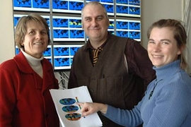 "MIT professor Penny Chisholm, left, and principal research scientists Mick Follows and Stephanie Dutkiewicz have created an ocean model in which the populations of ""sown"" microbes precisely mimic real-world patterns of the same organisms."