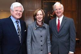 Sen. Edward Kennedy, MIT President Susan Hockfield and Harvard President Derek Bok at a luncheon at MIT's Gray House. Hockfield and Bok announced the expansion of the Kennedy Scholarship program.