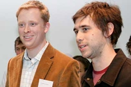 Thaddeus Jusczyk and James Graham at the Holcim Forum 2007 awards ceremony. The two MIT students won first place for their plan to harness the energy of crowds.