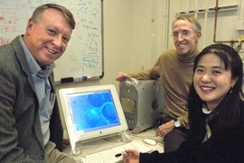 From left, Morris Cohen Professor of Materials Science and Engineering Edwin Thomas, who is also department head, Professor Patrick Doyle of chemical engineering and materials science postdoc Ji-Hyun Jang. The researchers have designed a technique to control the size, shape and texture of microparticles.