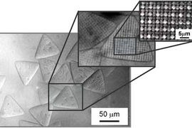 MIT researchers have reported a technique to create microparticles with a granular texture, shown here at three scales.