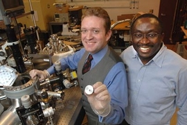 MIT research scientist Luis Velasquez-Garcia, left, and Akintunde Ibitayo Akinwande, professor of electrical engineering and computer science, are developing a tiny sensor that can detect hazardous gases, including biochemical warfare agents.