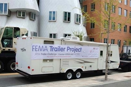 A FEMA trailer en route to the MIT campus, where it will form the centerpiece of a new course on research as artistic practice.