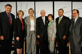 From left to right, Broad Institute Director Eric Lander, MIT President Susan Hockfield, Harvard President Drew Gilpin Faust, Eli and Edythe Broad, Massachusetts Gov. Deval Patrick and Nobel Laureate David Baltimore of Caltech at the Sept. 4 press conference announcing the Broad's $400 million gift.