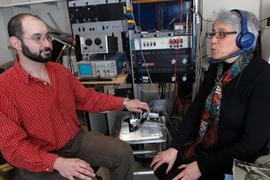 Here Senior Research Scientist Charlotte Reed speaks while the device she helped develop converts the sounds into vibrations. Graduate research assistant Theodore Moallem uses the device to read her lips and feel the sounds.