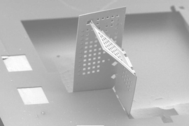 MIT researchers have developed a way to fold nano- and microscale polymer sheets into simple 3D structures.