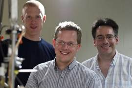 The MIT researchers who helped lead the project, from left: Research Laboratory of Electronics postdocs Simon Gustavsson and Jonas Bylander and Lincoln Lab's William Oliver.