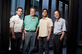 Members of the research team included (from left to right) recent graduate  Mihai Duduta '10, Prof. W. Craig Carter, graduate student Bryan Ho, and Prof. Yet-Ming Chiang.
