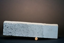 Concrete samples made by hand to illustrate the concept of density gradient in concrete. A team from the MIT Media Lab hopes to be able to print such materials with a 3-D printer.