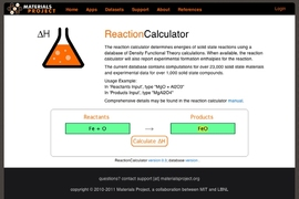 One of the tool's functionalities is a 'Reaction Calculator,' which calculates the enthalpy of thousands of reactions and compare to experimental values.
