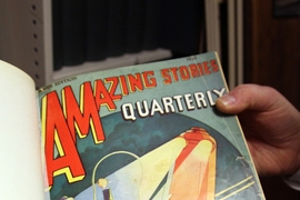 While much of its stacks are filled with novels, the library also features an extensive collection of comic books, graphic novels and vintage publications, such as this sci-fi magazine from the 1920s.