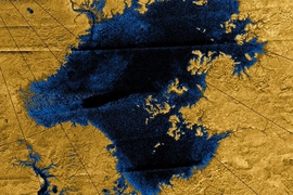 Images from the Cassini mission show river networks draining into lakes in Titan's north polar region.