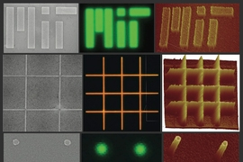 Images of nanopatterned films of nano crystalline material produced by the MIT research team. Each row shows a different pattern produced on films of either cadmium selenide (top and bottom) or a combination of zinc cadmium selenide and zinc cadmium sulfur (middle row). The three images in each row are made using different kinds of microscopes: left to right, scanning electron microscope, optical ...