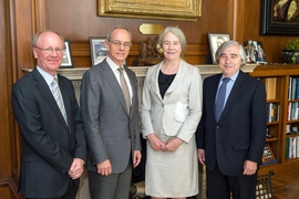 From left to right: Director, University Relations, Group Technology at BP Andrew Cockerill; MIT President L. Rafael Reif; BP Chief Scientist Ellen Williams; and MIT Energy Initiative Director Ernest J. Moniz.
