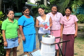 The Mujeres Solares de Totogalpa (Solar Women of Totogalpa) with the Solarclave, a solar powered autoclave to sterilize medical instruments in rural and off-grid clinics. The Solarclave and its lead developer, Anna Young, are currently part of D-Lab's Scale-Ups program.