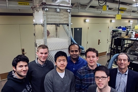 The team responsible for developing the improved HDH desalination system, seen in front of a prototype of the system. From left to right, they are:  Karim Chehayeb, Gregory Thiel, Steven Lam, lead researcher Prakash Narayan Govindan, Max St. John, Ronan McGovern and the senior member of the team, Professor John Lienhard.