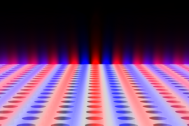 "Light is found to be confined within a planar slab with periodic array of holes, although the light is theoretically ""allowed"" to escape. Blue and red colors indicate surfaces of equal electric field."