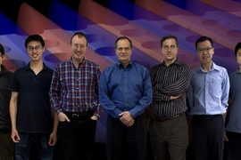 Members of the team that discovered and demonstrated the new way to trap light. From left: Bo Zhen, Chia Wei Hsu, Steven Johnson, John Joannopoulos, Marin Soljačić, Song-Liang Chua and Jeongwon Lee. The background is a snapshot of a theoretical simulation of their system, where light (its electric field shown in blue and red patterns) is confined in a slab with periodic array of holes.