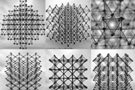 "Assemblies of the cellular composite material are seen from different perspectives, showing the repeating ""cuboct"" lattice structure, made from many identical flat cross-shaped pieces."