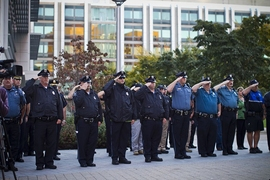 Nearly 50 MIT Police officers stood at attention at the start of this morning's ceremony.