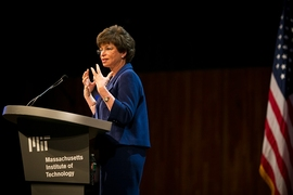 Hon. Valerie Jarrett, senior White House advisor, delivers the Karl Taylor Compton Lecture at MIT's Kresge Auditorium on March 13.
