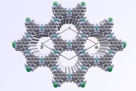A diagram of the molecular structure of the new material shows how it naturally forms a hexagonal lattice structure, and its two-dimensional layers naturally arrange themselves so that the  openings in the hexagons are all perfectly aligned.