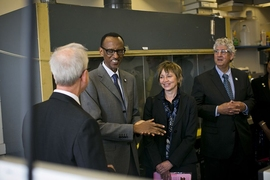 (Left to right) Professor Ronald Prinn; Rwandan president Paul Kagame; Professor Maria Zuber; Professor Philip Khoury.