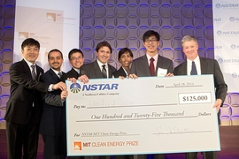 Members of the Unified Solar team: (from left) Jin Moon, Anas Al Bastami, Albert Chan, Jorge Elizondo, Bessma Aljarbou, and Arthur Chang. At far right is NSTAR President Craig Hallstrom.