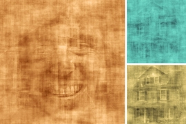 Screen shots from a video of overlapping images of faces and houses, shown to subjects who were asked to pay attention to one or the other.