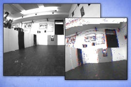 A visual odometry algorithm uses low-latency brightness change events from a Dynamic Vision Sensor (DVS) and the data from a normal camera to provide absolute brightness values. The left photograph shows the camera frame, and the right photograph shows the DVS events (displayed in red and blue) plus grayscale from the camera.