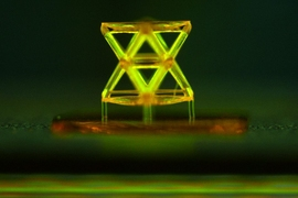 This microscope image shows a single unit of the structure developed by the team, called a stretch-dominated octet truss unit cell, made from a polymer using 3-D microstereolithography.