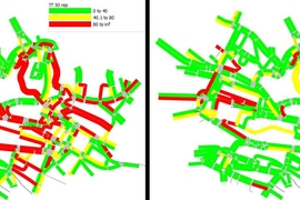 This figure shows two maps with colored lines that represent the main roads in Lausanne, Switzerland. The three colors represent how long it takes to commute: red is the longest commute, yellow is average, and green is the shortest commute. The left map, with conventional traffic light programming, has many red lines that represent long commutes. The right map, which uses the researcher's improved...