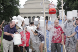 MIT President L. Rafael Reif accepted a double Ice Bucket Challenge from Harvard President Drew Faust and the MIT Edgerton Center. The ice bucket challenge is raising funds to help scientists research the causes of and potential treatments for ALS, also known as Lou Gehrig's disease.